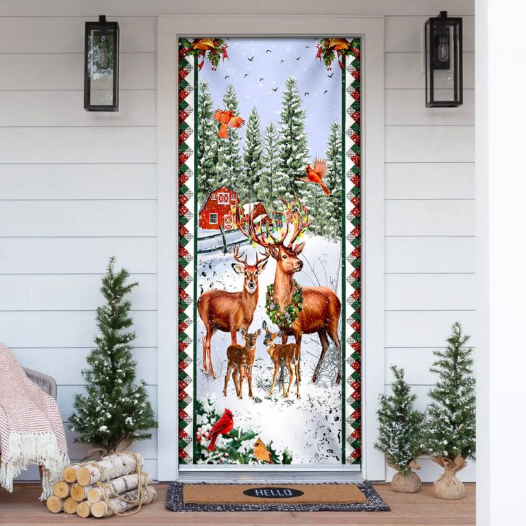 Deer Family Christmas Door Cover