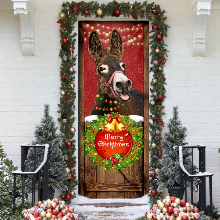 Donkey Smile Christmas Door Cover