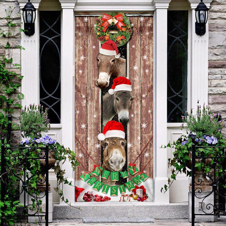 Donkeys Christmas Snow Farmhouse Door Cover