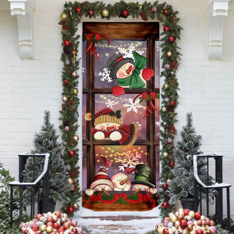 Happy Three Snowmen Door Cover