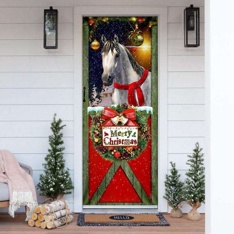 Horse Merry Christmas Door Cover