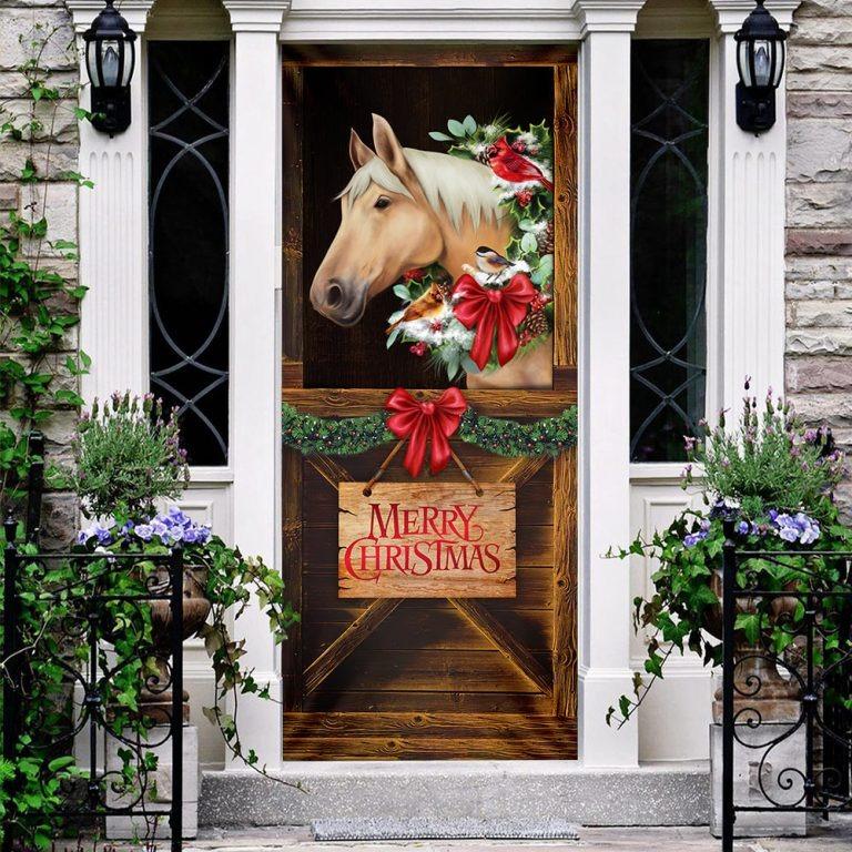 Horse in stable merry christmas door cover