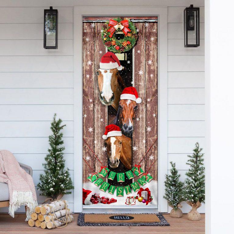 Horses Christmas Snow Barn Door Cover