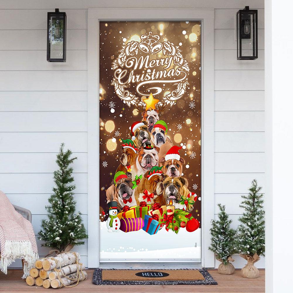 Merry Christmas Bulldog Christmas Tree Door Cover