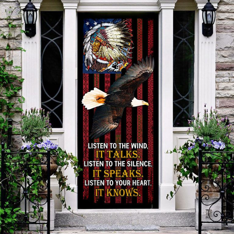 Native American Listen to the wind Door Cover