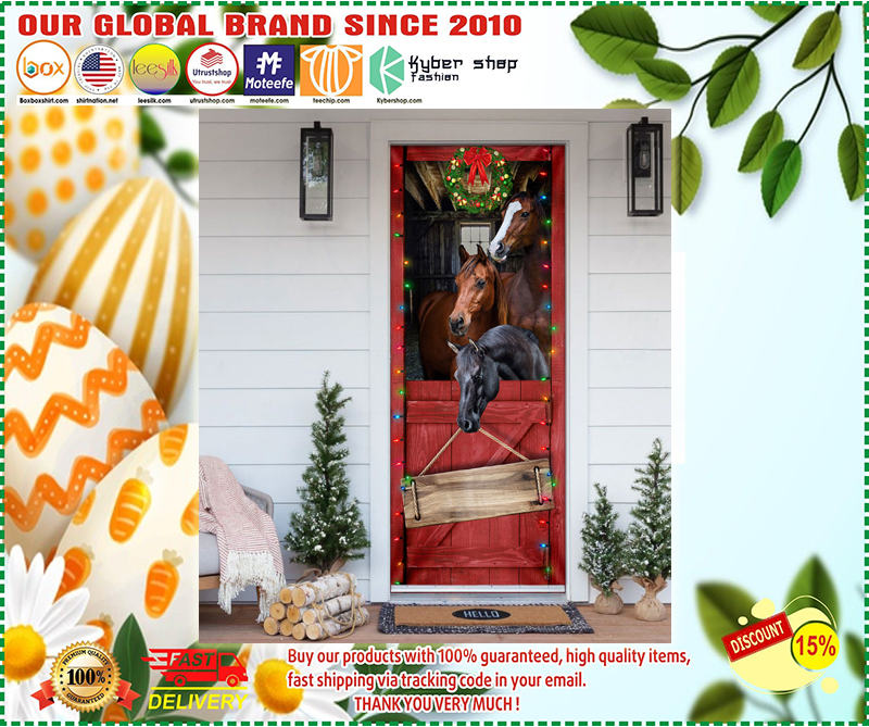 Personalized Horse Merry Christmas Door Cover