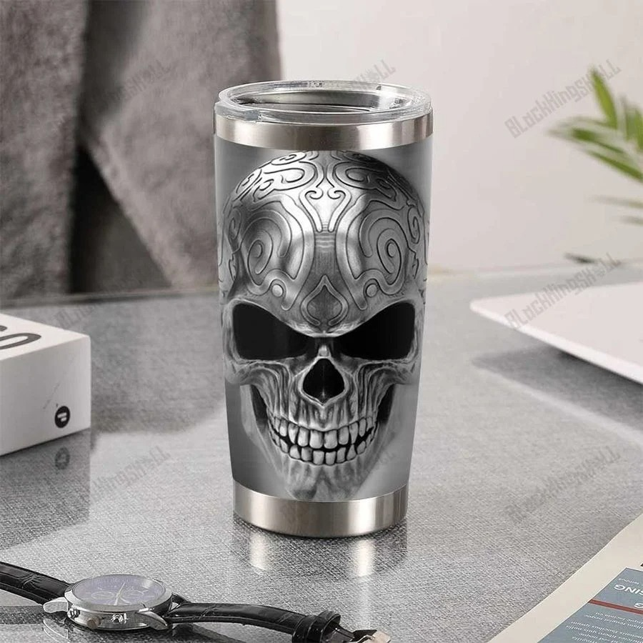 Silver skull tumbler