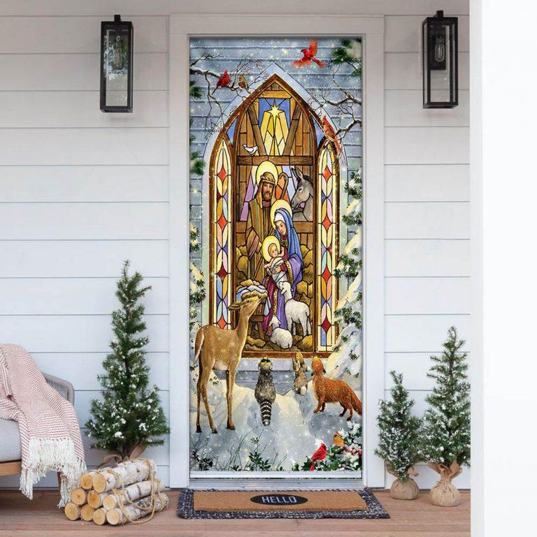 The Holy Family Christmas Nativity Scene Door Cover