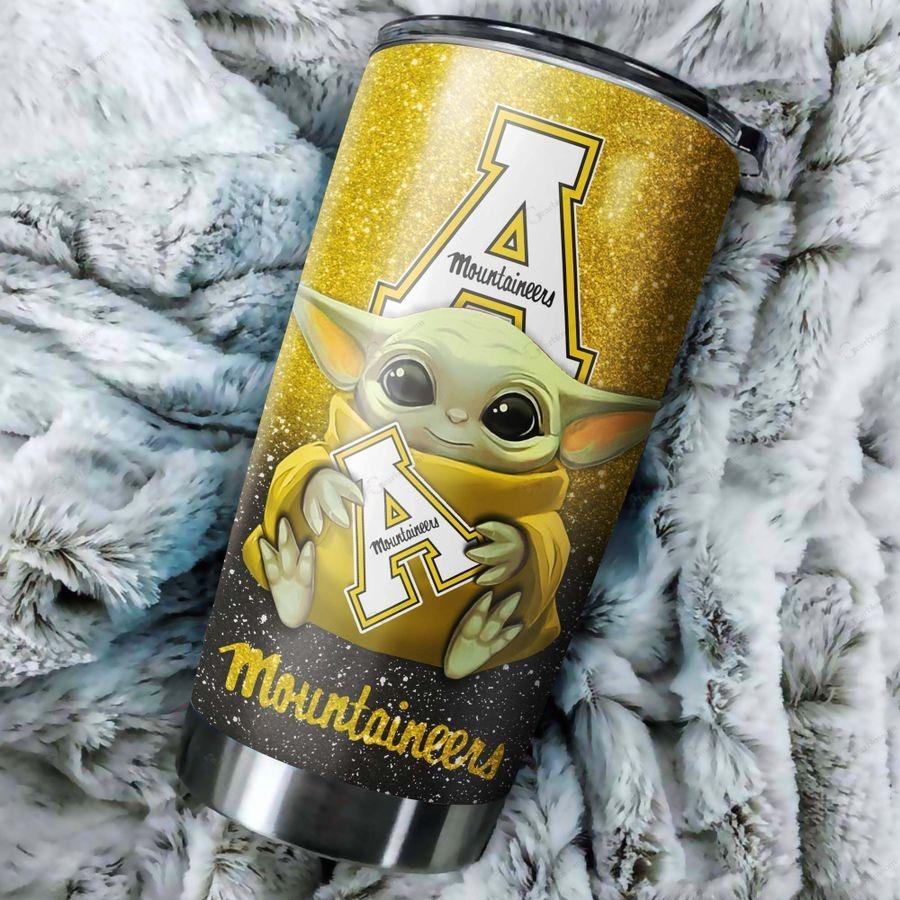 Baby Yoda Appalachian State Mountaineers Custom Name Tumbler