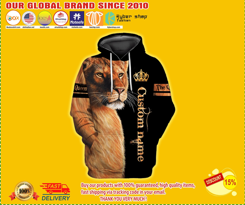 Custom name lion the Queen 3d hoodie