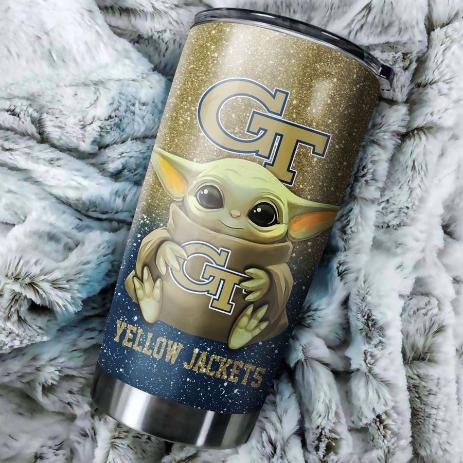 Georgia Tech Yellow Jackets Baby Yoda Custom Name Tumbler