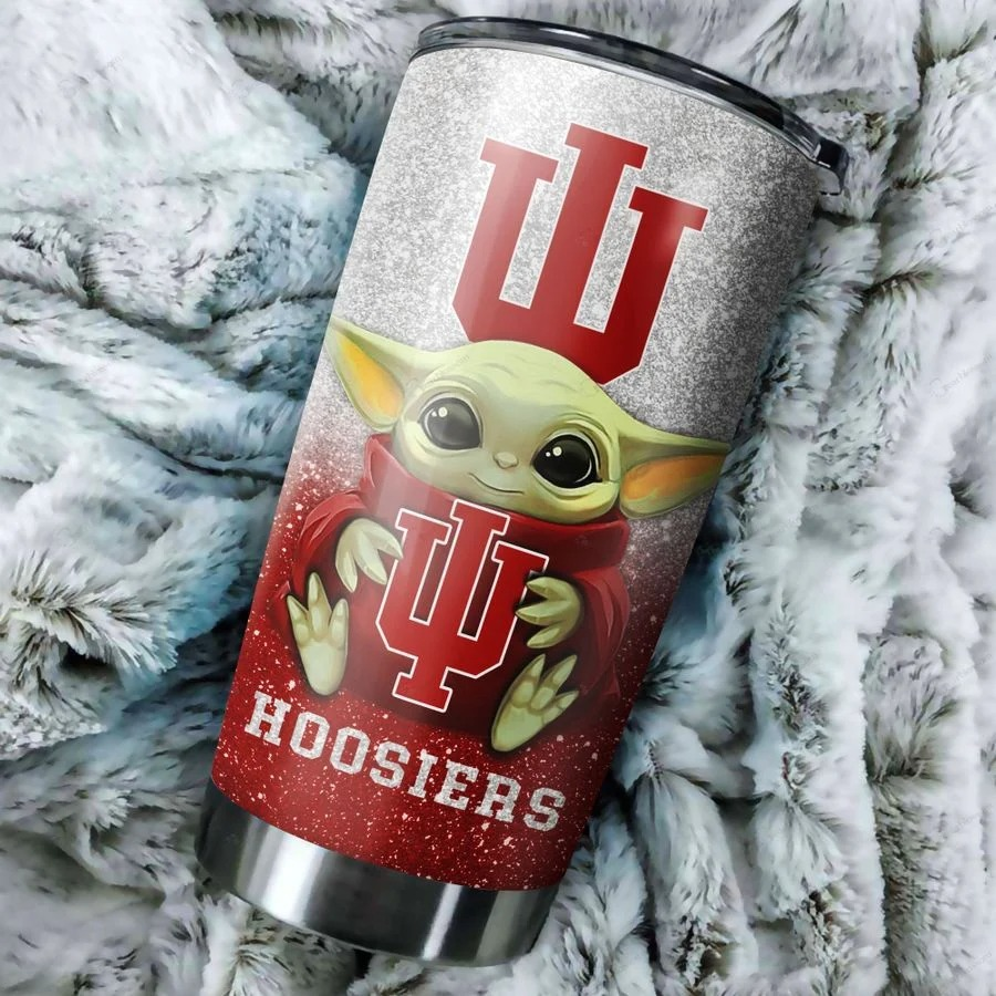 Indiana Hoosiers Baby Yoda Custom Name Tumbler