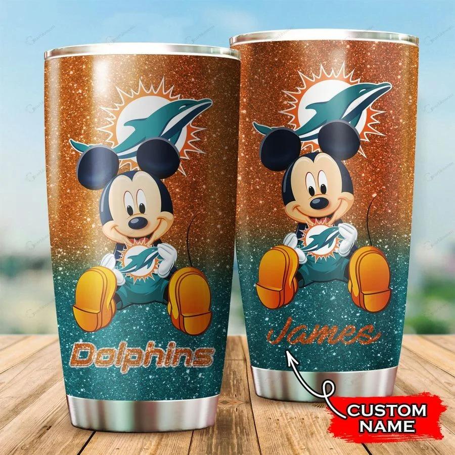 Mickey Miami Dolphins custom name tumbler