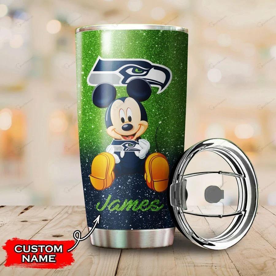 Mickey Seattle Seahawks custom name tumbler