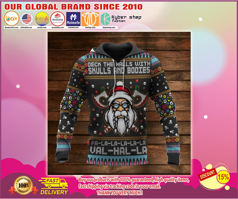 Viking deck the halls with skuls and bodies 3d hoodie
