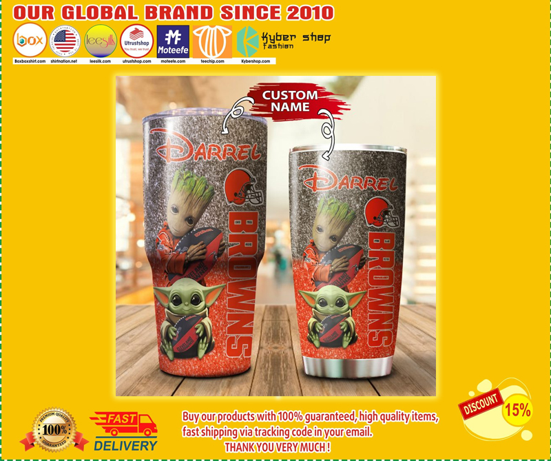 Baby Yoda and Groot Cleveland Browns Custom name Tumbler