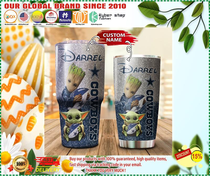Baby Yoda and Groot Dallas Cowboys Custom name Tumblers