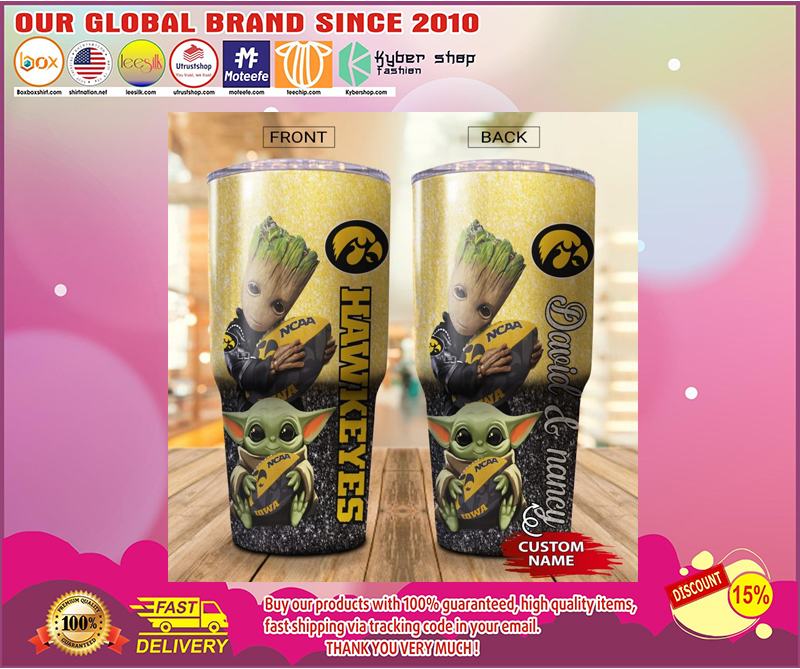 Baby Yoda and Groot Iowa Hawkeyes Custom name Tumbler