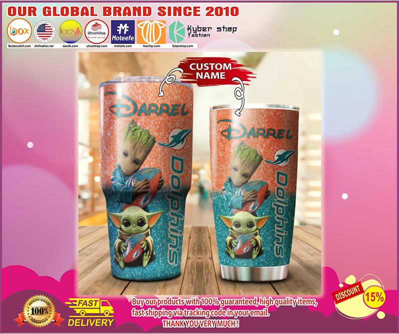 Baby Yoda and Groot Miami Dolphins Custom name Tumbler
