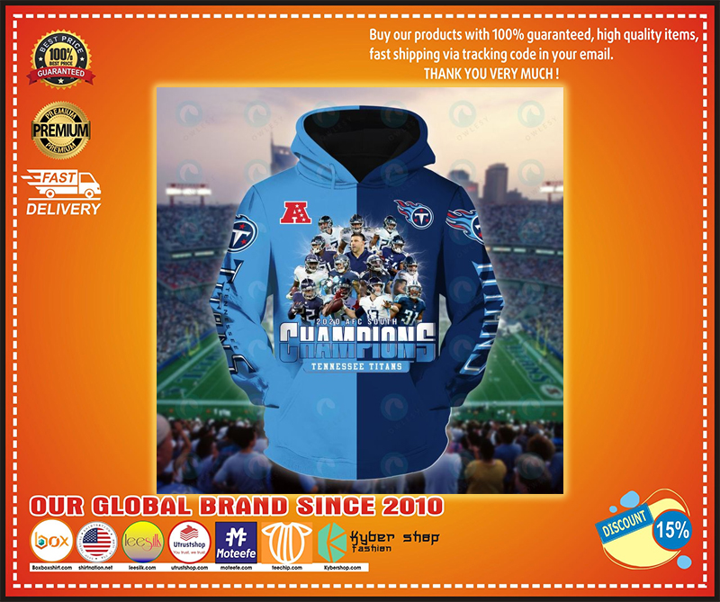 Football 2020 AFC south champions tennessee titans 3d hoodie