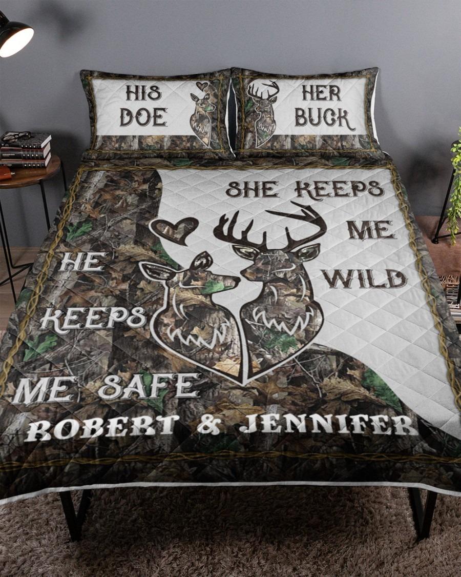 His doe her buck she keeps me wild he keeps me safe bedding set