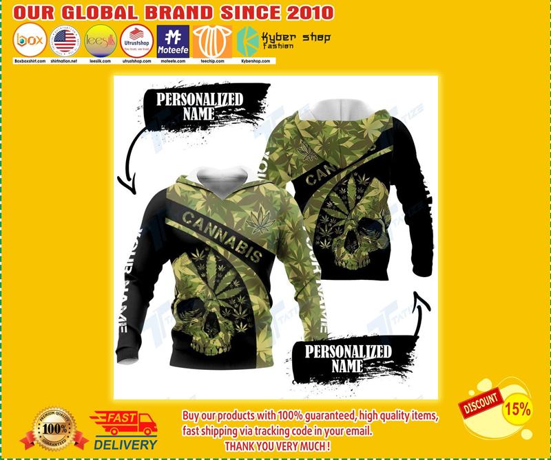 Skull cannabis custom name 3d hoodie