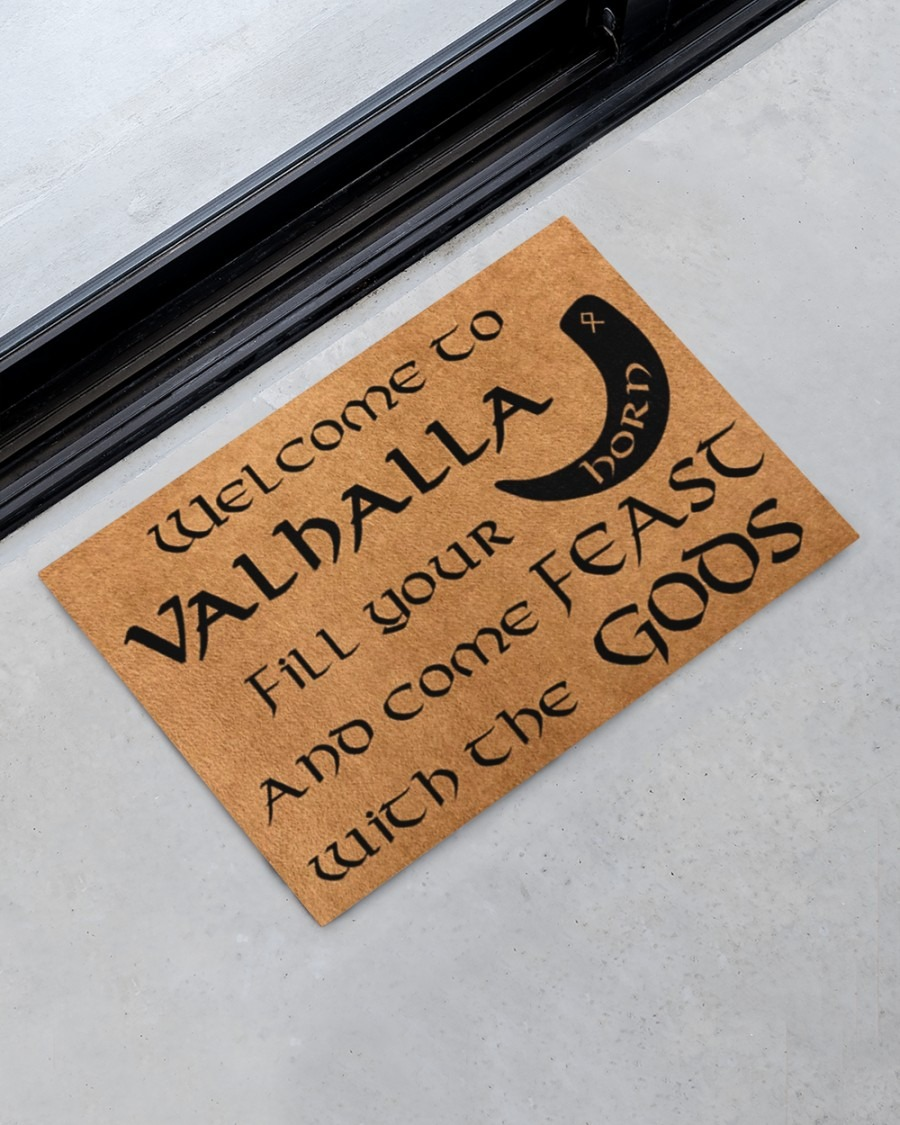 Vikings welcome to valhalla fill your horn doormat