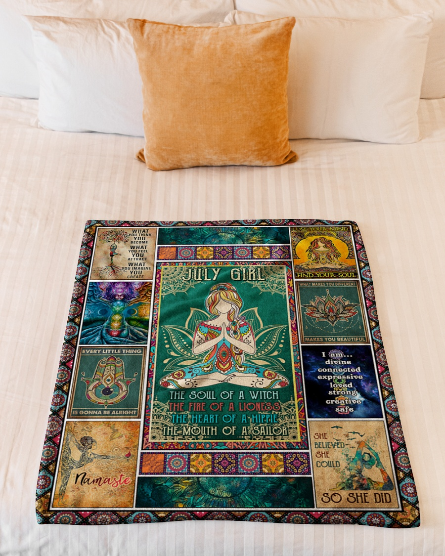 July girl yoga the soul of the witch the fire of lioness blanket 1