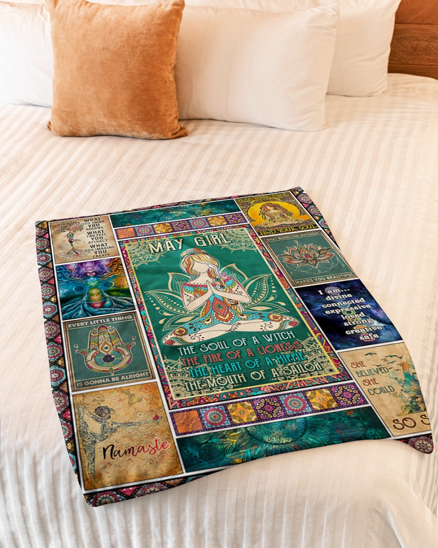 May girl yoga the soul of the witch the fire of lioness blanket 2