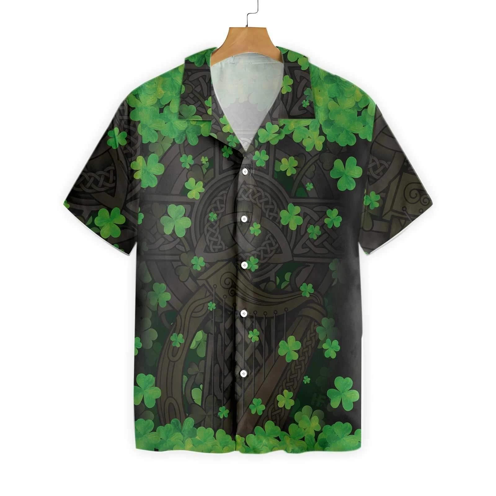 The Celtic Cross Harp Irish Hawaiian shirt