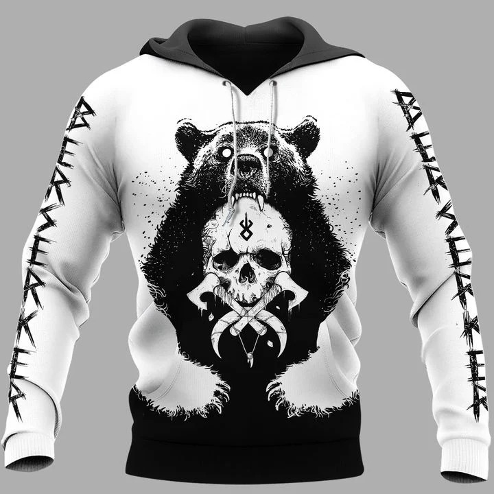 Viking bear 3D hoodie 5