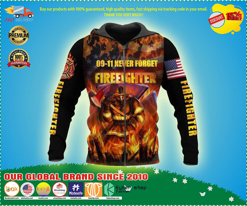 09 11 never forget fireeighter 3D hoodie 2