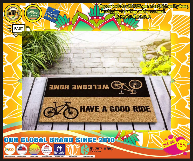 Bicycle welcome home have a good ride doormat 1