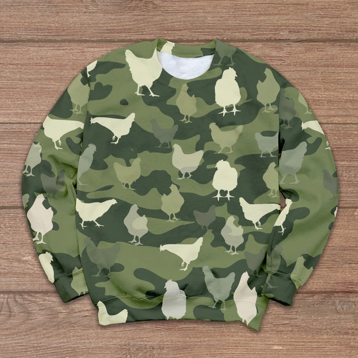 Chicken in green 3D shirt and hoodie 3