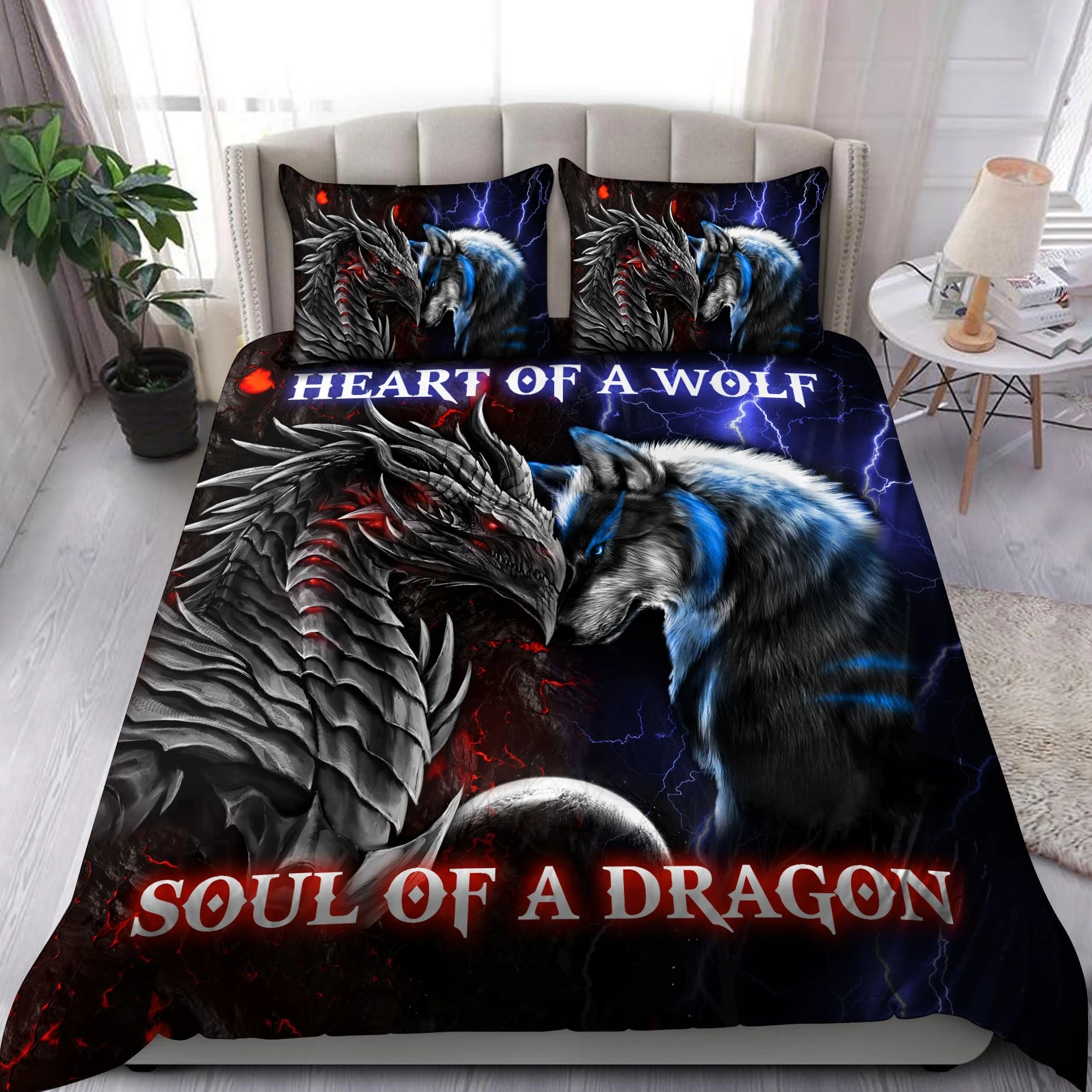 Heart of a wolf soul of a dragon bedding set 2