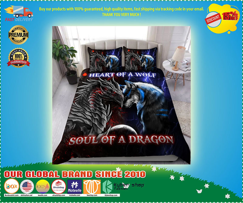 Heart of a wolf soul of a dragon bedding set 4