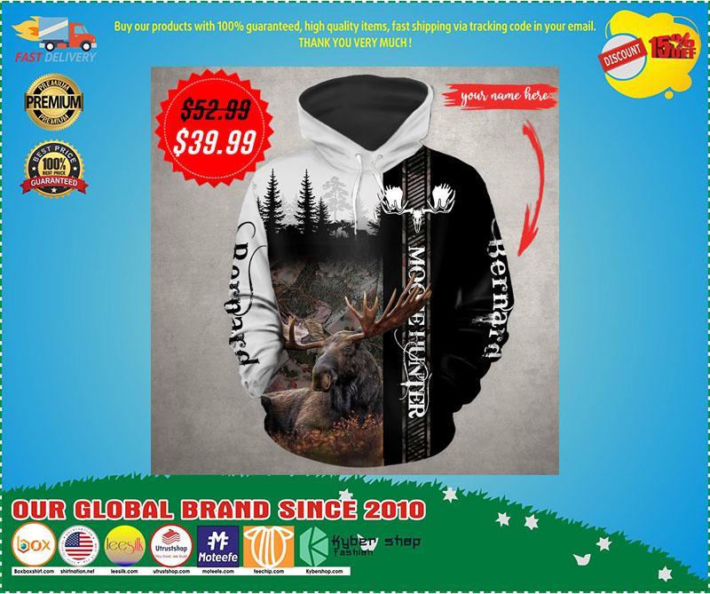 Moose hunter custom name 3D hoodie 3