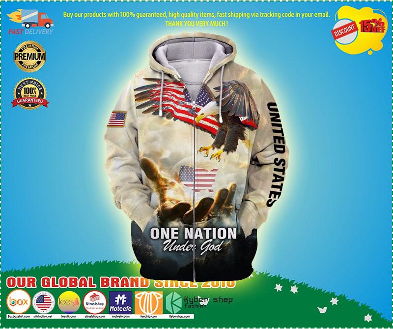 One nation eagle under god 3D over print hoodie 3