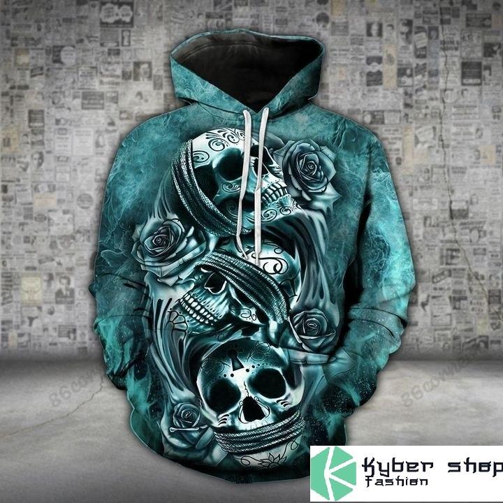 Skull trio turquoise 3D hoodie and legging 4