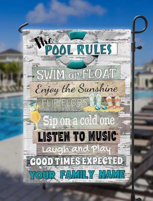 The pool rulers swim or float flag