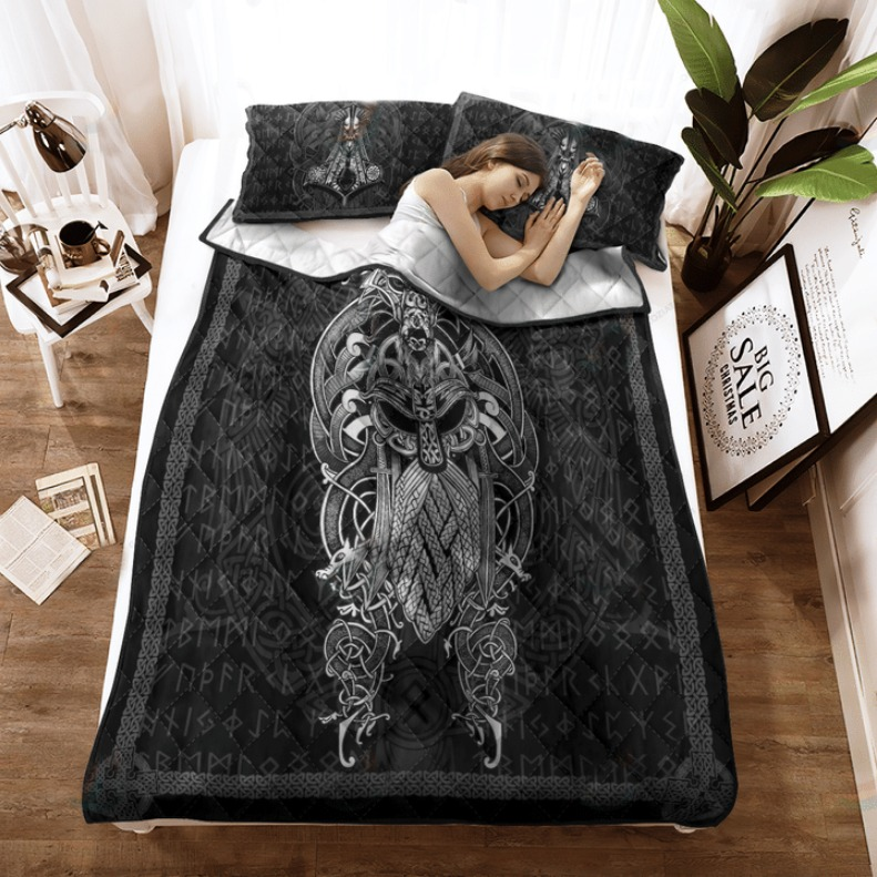 Viking Odin tattoo bedding set 4