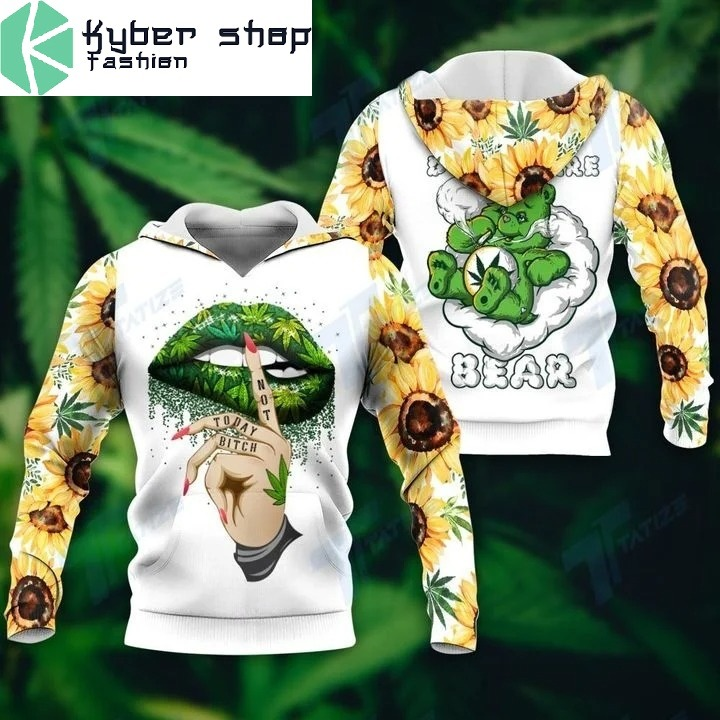 Weed dont care bear 3D hoodie 1