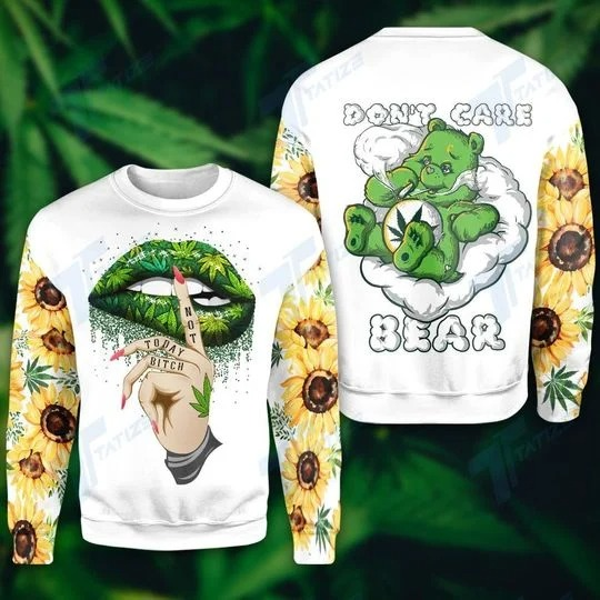Weed dont care bear 3d hoodie and legging 2