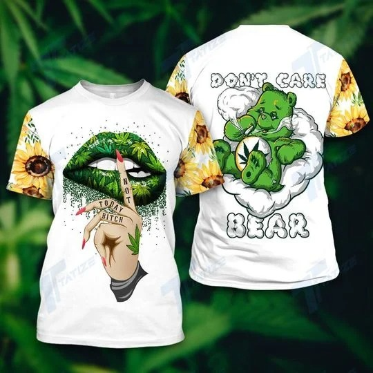 Weed dont care bear not today bitch hoodie and legging 3