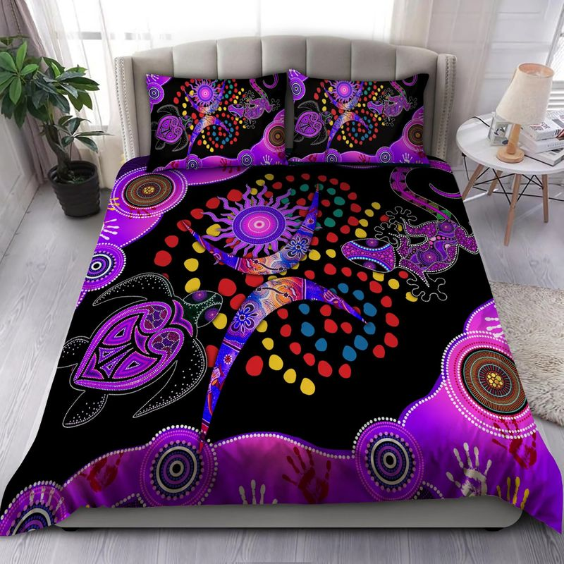 Aboriginal purple turtle lizard bedding set 5