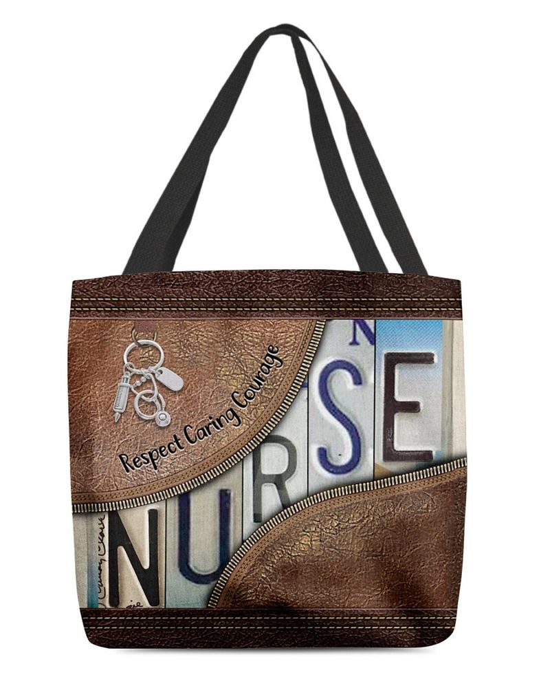 Respect caring courage custom name tote bag
