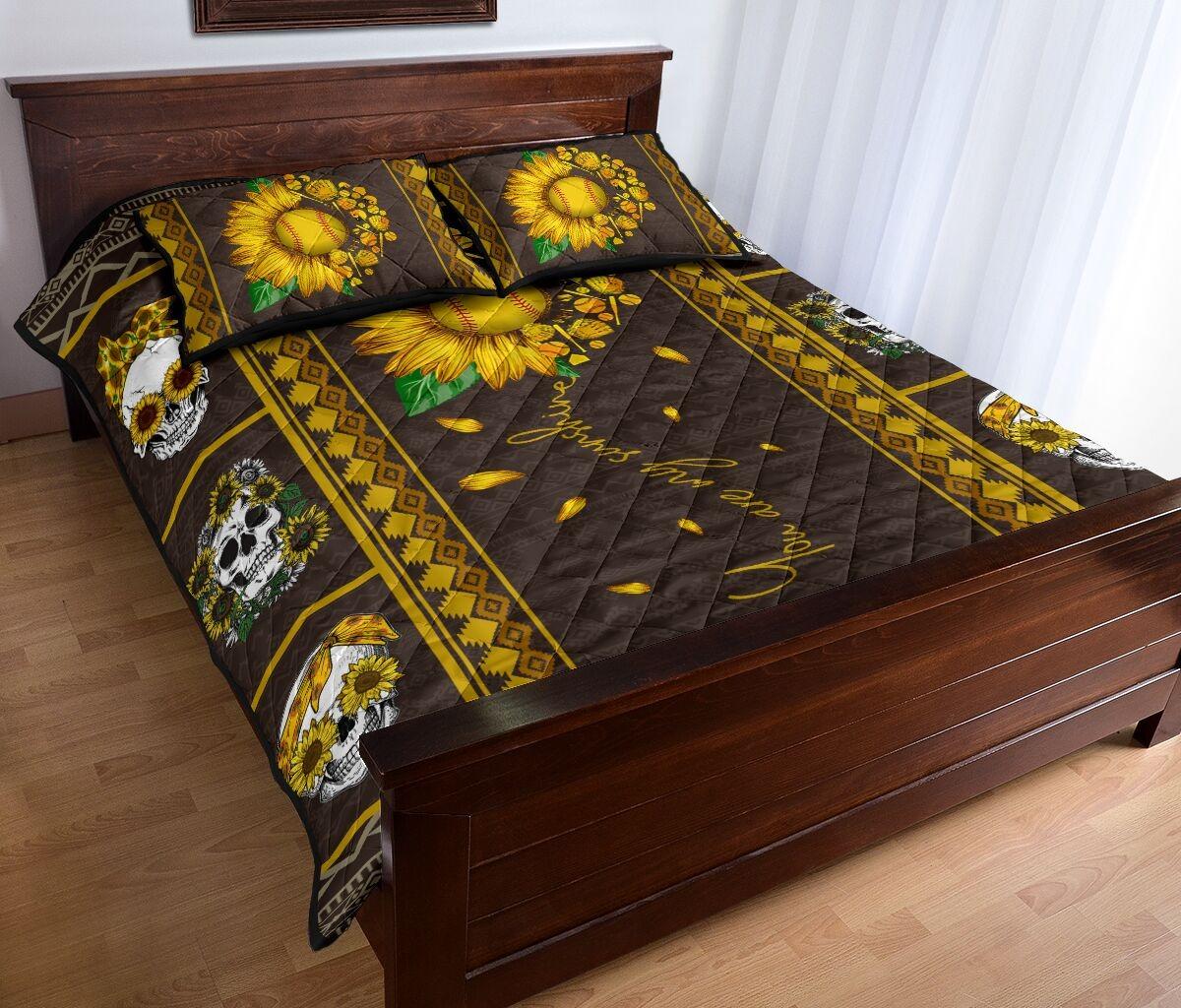 Soflball sunflower quilt bedding set 1