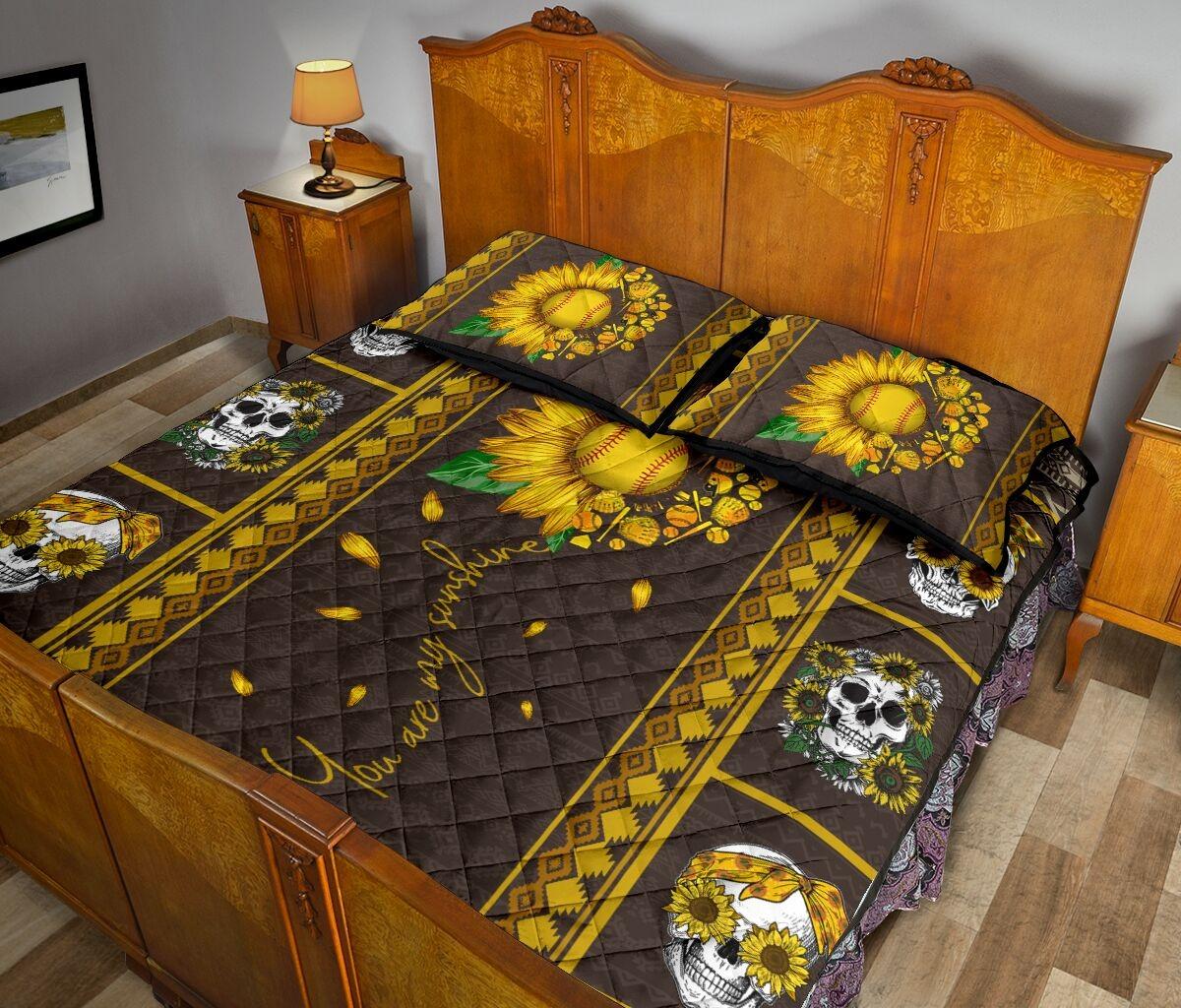 Soflball sunflower quilt bedding set 2