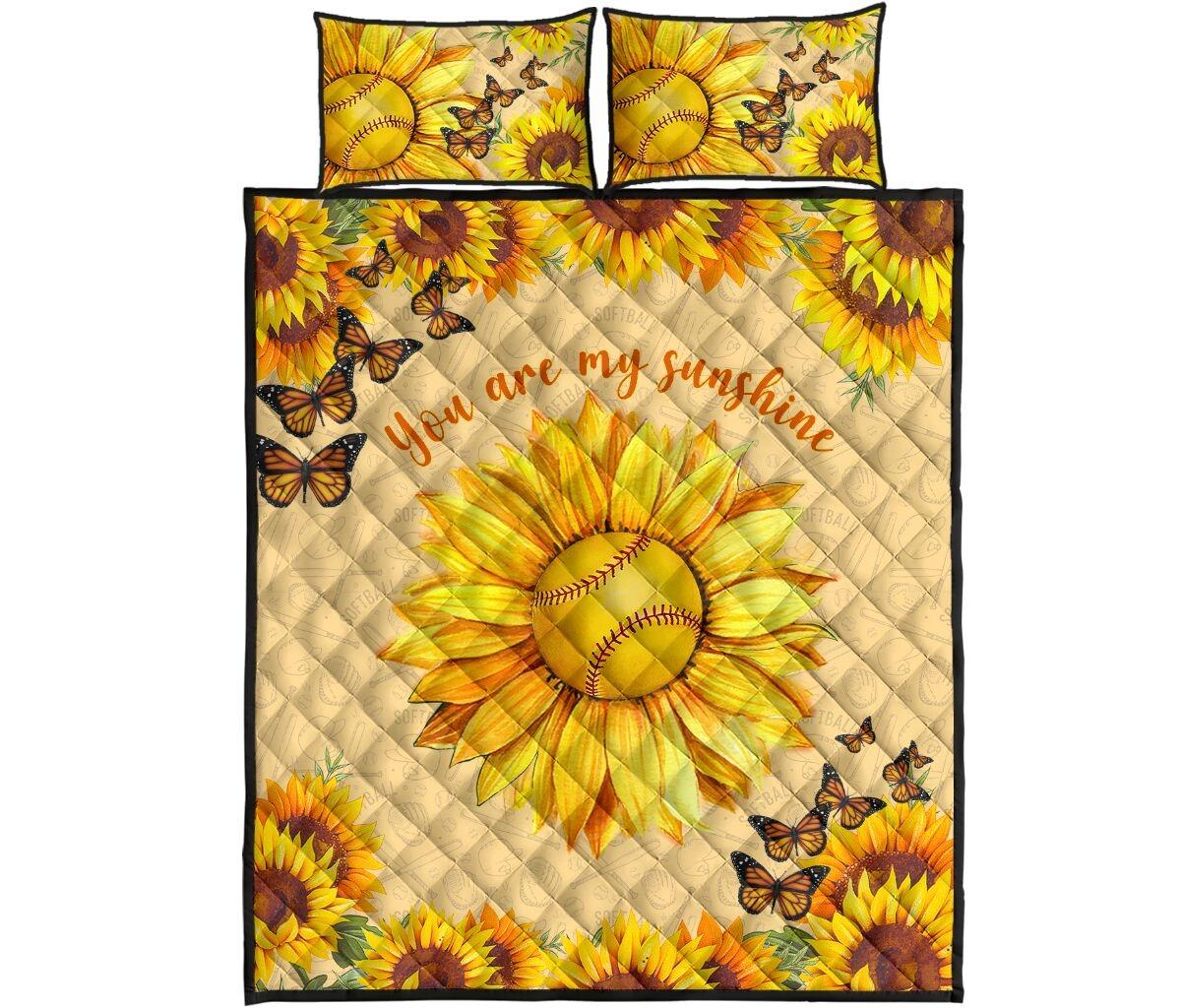 Sunflower softball quilt bedding set4