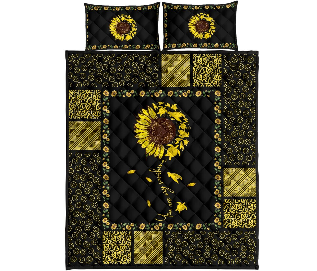 Sunflower sunshine turtle quilt bedding set 4